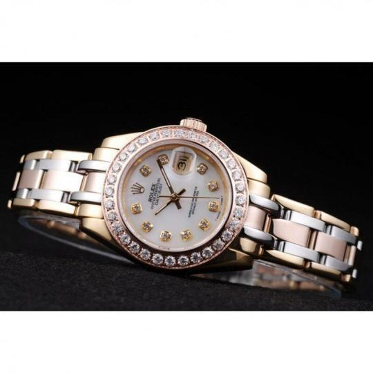 18k rose- gold plated stainless steel crystal-studded bezel