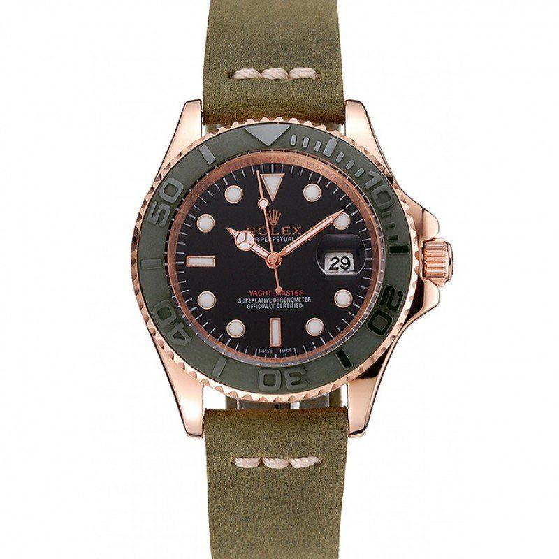 Men Rolex Yacht Master Black Dial Brown Bezel Rose Gold Case Brown Leather Bracelet 1453860 replica watches