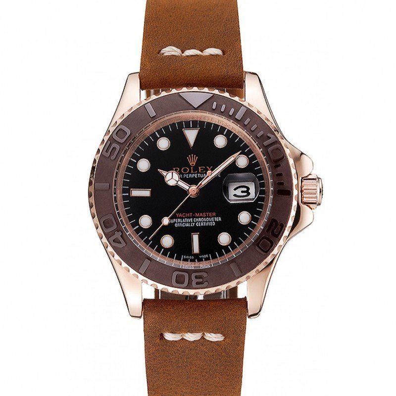 Men Rolex Yacht Master Black Dial Green Bezel Rose Gold Case Green Leather Bracelet 1453862 replica watches