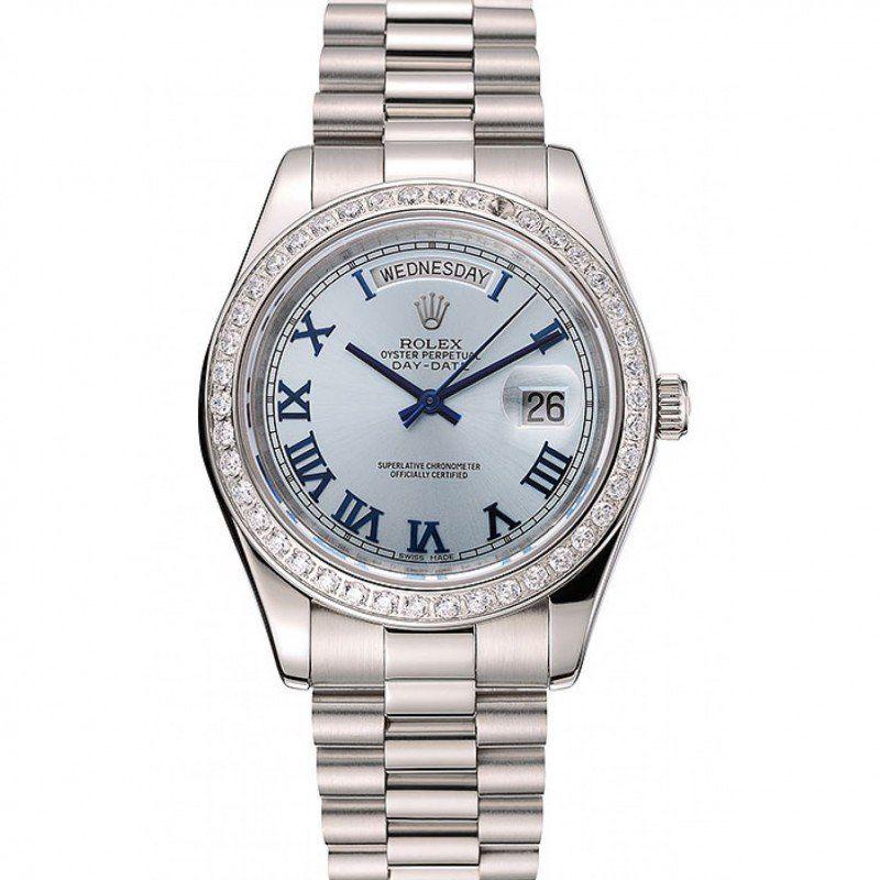 🇨🇭Rolex Day,Date Ice Blue Dial Diamond Case Stainless Steel Bracelet  1453962
